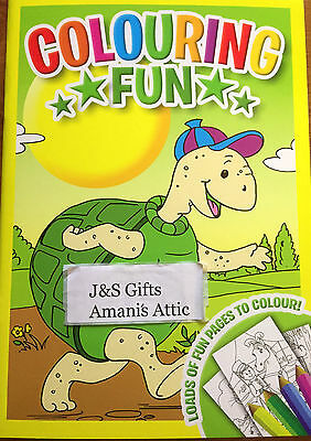 New Kids Children's Fun Colouring Book Learning Fun Activity 48 Pages Turtle Cap