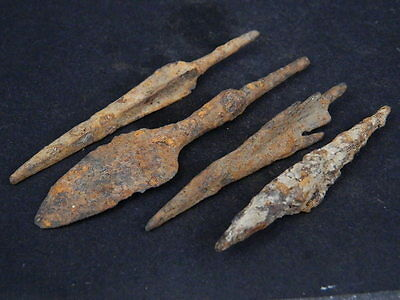 Ancient Large Size Iron 4 Arrow Heads Bactrian 300 BC  #GL1638