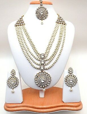 Indian Asian Bridal Jewellery Bollywood Party Ethnic Wear Rani Haar Necklace Set