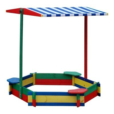 Large wooden garden 1.3m hexagonal Sandpit - Sandbox with seats & shade
