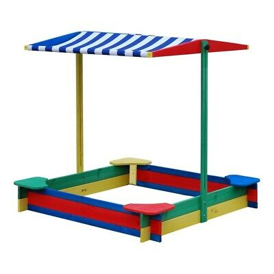 Large wooden garden 1.2m square Sandpit - Sandbox with seats & shade