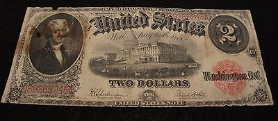 1917  U.S. 2 Dollar Note in Good Condition Nice Old Collectible Note!