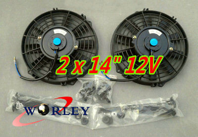 2* 14'' 12V Electric Radiator Cooling Thermo Fan +Mounting Kits 14 inch