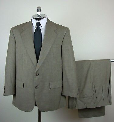 BILL BLASS Mens Tan PURE WOOL 2 Button Houndstooth Suit size 40 R