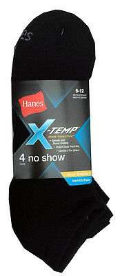 "Hanes Men's X-TEMP Black No Show Socks 4-Pack size 6-12 "" Arch Support "" ""COOL"""