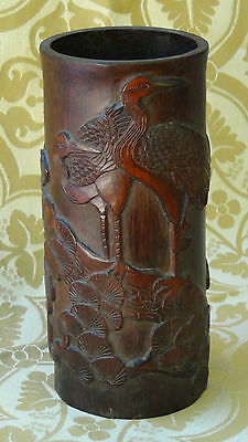 """ANTIQUE 18c CHINESE BAMBOO HAND CARVED"""" TWO SRAINES ON PINE TREE"""" BRUSH POT"""