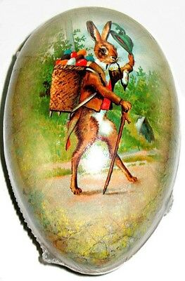 """Vintage Paper Mache EASTER EGG (7""""X5"""") Gentleman Hare NOS SEALED Made in GERMANY"""