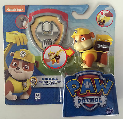 Nickelodeon Paw Patrol Rubble Action Pack Pup & Badge.