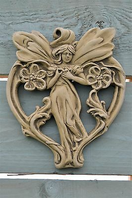 Florence Art Nouveau Wall Plaque- Garden Ornament- Wall Hanging- Stone- Green