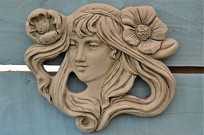 Emily Art Nouveau Wall Plaque- Garden Ornament- Wall Hanging- Stone- Green