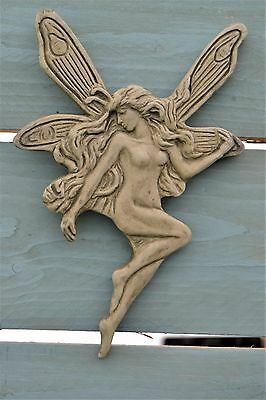 Fairy Jane Art Nouveau Wall Plaque- Garden Ornament- Wall Hanging- Stone- Green