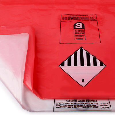 10 Pack of Red & Clear Heavy Duty Asbestos Disposal Bags 900 x 1200mm holds 30kg
