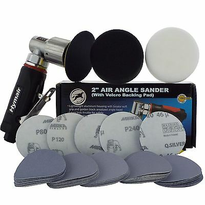 "75mm (3"") Mini Air Sander/Polisher Kit 50 Sanding Discs + Polishing & Foam Heads"