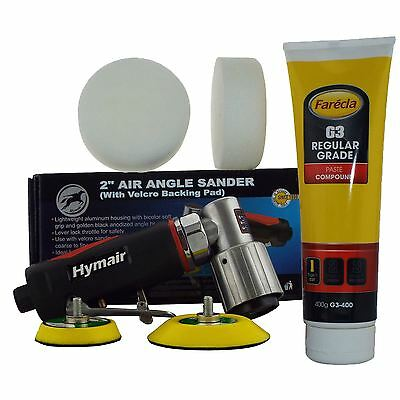 "75mm (3"") Mini DA Air Polisher Kit + 400g Farecla G3 & 2 Compounding Foam Heads"