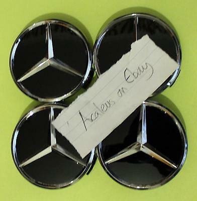 Mercedes Centre Caps 4x 75mm Black Alloy Wheel A M S Class Benz
