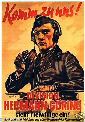 German WW2  Panzer Come to us Division Hermann Goring poster print