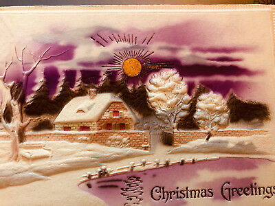 Vintage Antique Hold to the light Christmas Post Card beautiful embossed W gold