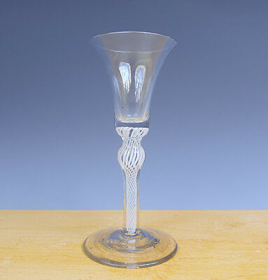 Antique Superb Perfect Dutch/English Wine-Glass Opaque Twisted 18TH C.