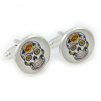 Sugar Skull Day Of The Dead Novelty Cufflinks Mens Womens Punk Unisex Gift Retro