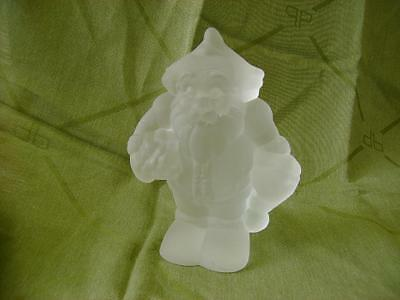 Vtg Goebel Glass Hand Made  Frosted Glass Large Paperweight Santa Claus Figurine