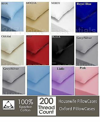 Luxury 100% Egyptian Cotton 200 Thread Count Pillow Cases Or Oxford PillowCover