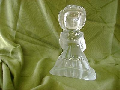 Vtg Viking Glass Hand Made  Frosted Glass Large Paperweight Girl Figurine