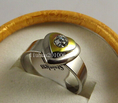 Wholesale 10 pcs Color Clear Crystal design Silver plated Stainless steel rings