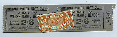 C1930 Two British Motor Boat Club Admission Tickets Welsh Harp Hendon Uk J12