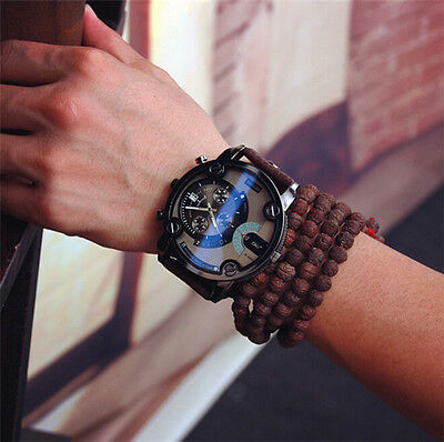 Luxury Men's Date Leather Band Wrist Watch Oversize Face Cool Design Dial Watch