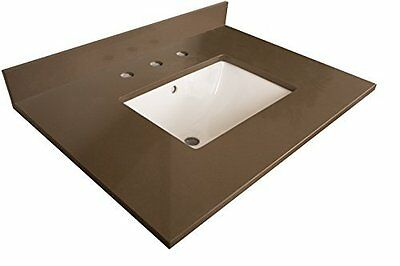 7616-TOP-GY 30-Inch- Gray Quartz Counter Top with Rectangular Sink