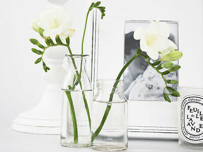 Antique Vintage Shabby French Clear Glass Milk Bottle Bud Vase Scandi Wedding