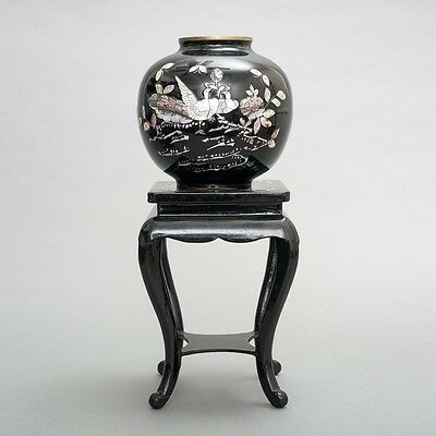 Black Enameled Brass Vase Mother of Pearl Abalone Peacocks w Lacquer Stand Korea