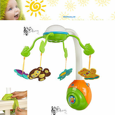 Bright Starts Soothing Safari Baby Cot Mobile - Nursery Toy Music & Melodies New