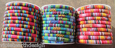 16inch Bright Colourful 5x7mm Round Cord Thread Beading bracelet Ethnic Hippy