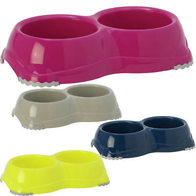Non Slip Plastic Double Pet Bowl 6 Colours Feeder Water Kitten Cat Dog 2 Sizes