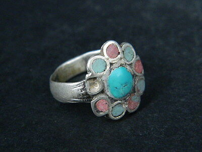 Ancient Silver Ring With Stones Post Medieval 1800 AD  #STC155