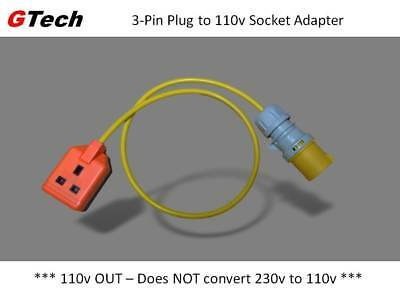 110v 16A Site Plug to Rugged 3-Pin 13A Socket - 1m Cable - SAFETY / PAT Tested
