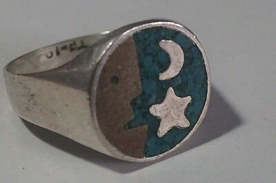 D257 Vintage Mexico Metales Casados Sterling Ring Moon & Stars Size 8.5