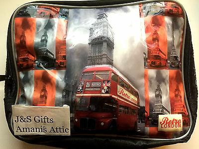 Children's School Lunch Bag London Big Ben Red Bus Insulated Picnic Lunch Bag