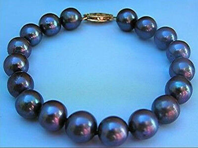 10-11Mm Tahitian Black Pearl Bracelet 7.5-8 Inch 14K Yellow Gold Clasp Marked