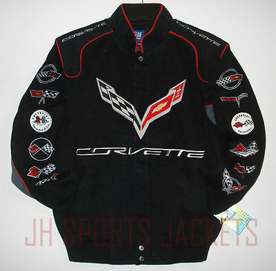Size M  Authentic Corvette Racing Embroidered Cotton Jacket Black  New Med