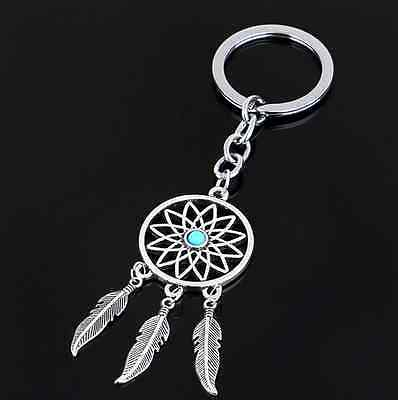 Chic Feather Tassels Key Chain Ring Dream Catcher Keyring Keychain Silver Color