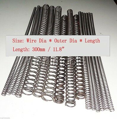 Wire dia 0.3 - 1mm, OD 2 to 20mm, Length 300mm Helical Compression Spring Select