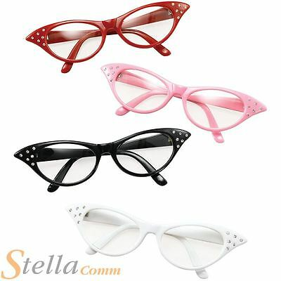 Ladies 50s 60s Rock N Roll Glasses Grease Dame Edna Specs Fancy Dress Accessory