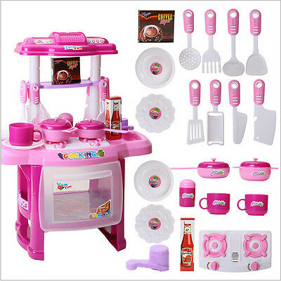 Portable Pink Electronic Children Kids Kitchen Cooking Girl Toy Cooker Play Sete