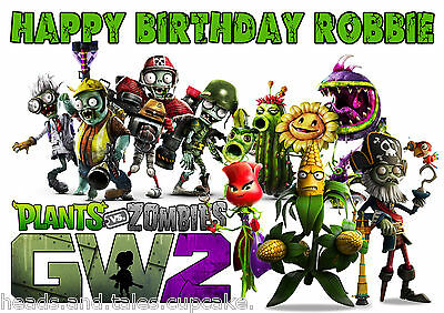 Plants Vs Zombies GW2 Cake Decoration icing sheet personalised Birthday Party