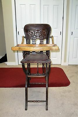 Antique Victorian Child's Wood High Chair - Adjustable