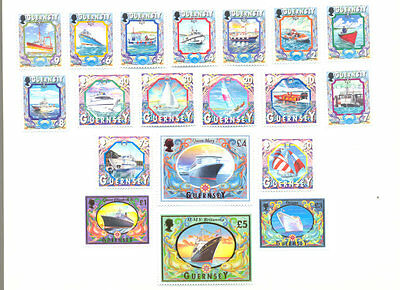 Guernsey-Ships and Boats complete set mnh(Below Face value)