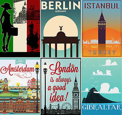 Vintage Travel Posters Berlin Paris Etc Upto A1 Size,  Frames Available