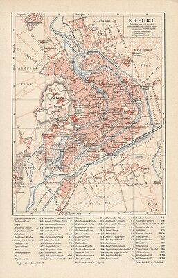1894 Erfurt Deutschland Alter Stadtplan Landkarte Antique City Map Lithographie